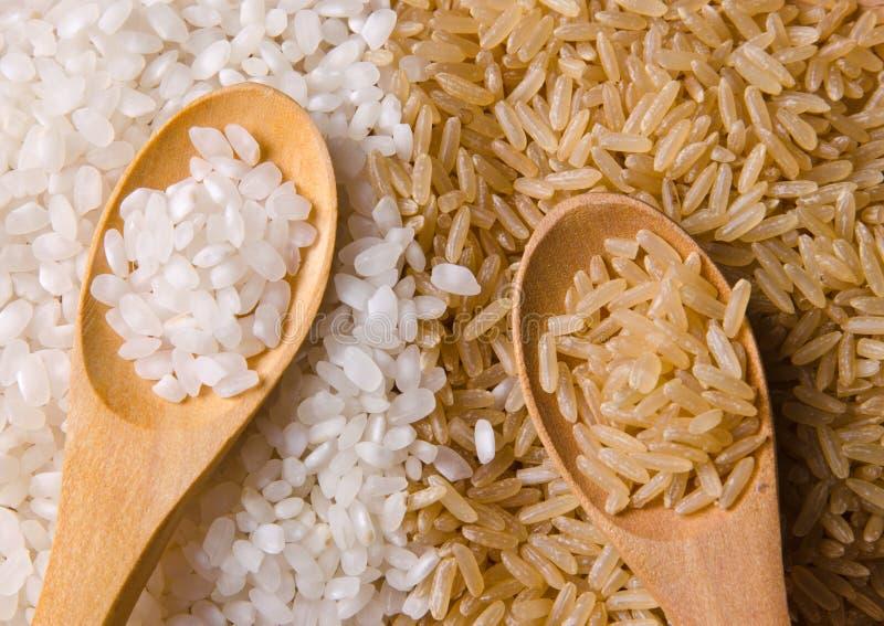 Witte en ongepelde rijst royalty-vrije stock afbeelding