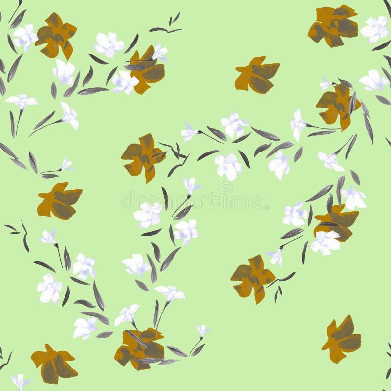 Witte en oranje bloemen van het waterverf de naadloze patroon op een groene achtergrond stock illustratie