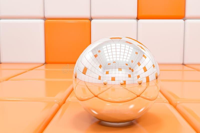 Witte en oranje tegelachtergrond met glasbal stock illustratie