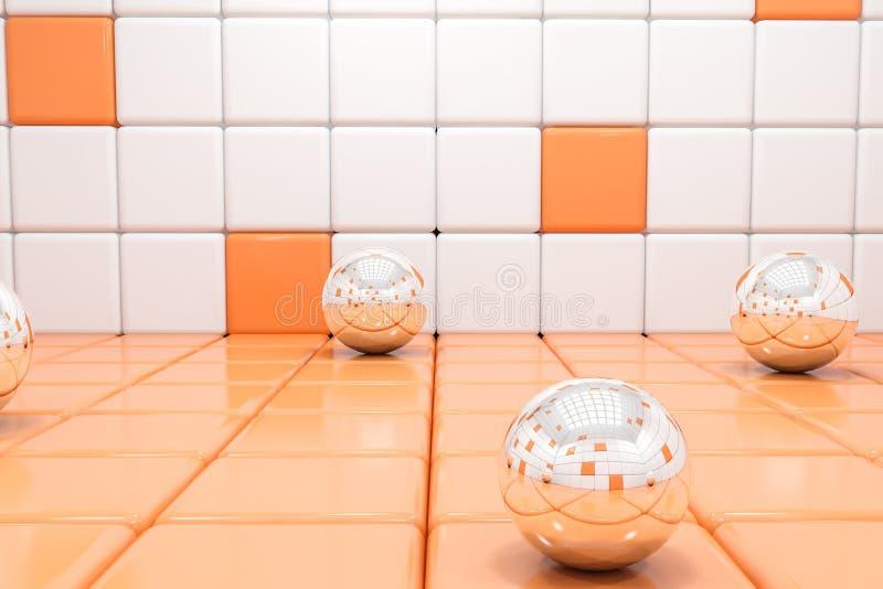 Witte en oranje tegelachtergrond met glasgebieden vector illustratie