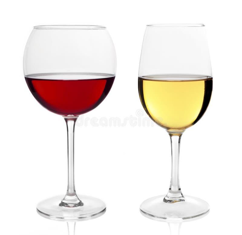 Witte en rode wijnglas royalty-vrije stock foto