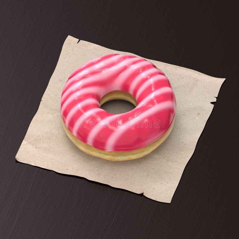 Witte en roze-verglaasde doughnut royalty-vrije stock afbeelding