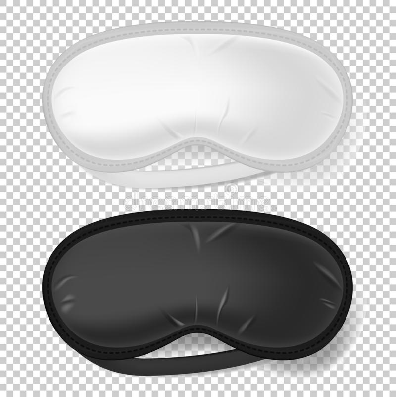Witte en zwarte blinddoek spot omhoog van slaapmasker vector illustratie