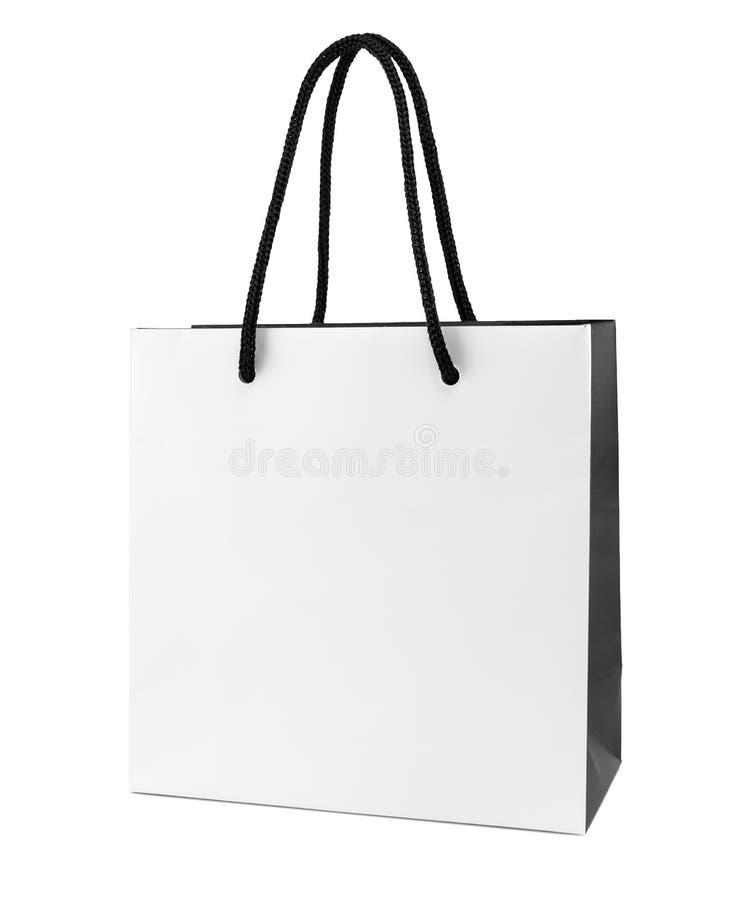 Witte en zwarte document het winkelen zak royalty-vrije stock foto