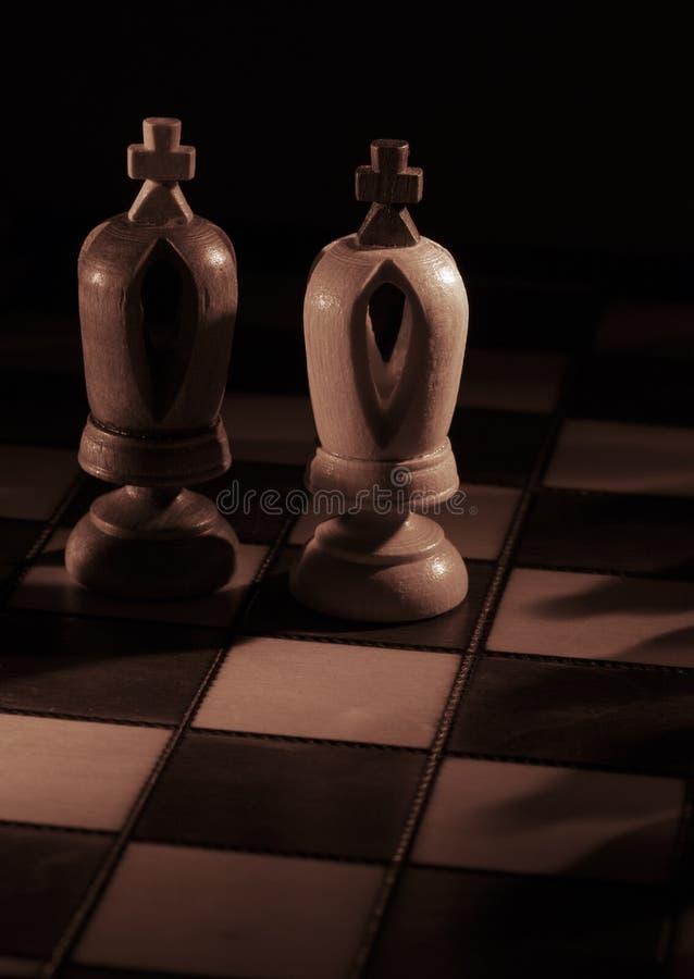 Witte en zwarte koningen op het schaakbord royalty-vrije stock afbeeldingen