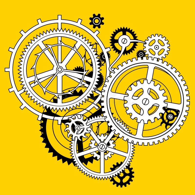 Witte en zwarte lineaire toestelwielen in vlak stijlgat op geel stock illustratie