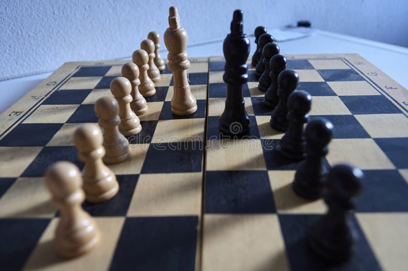 Witte en zwarte schaakkoningen en panden op schaakbord stock afbeelding