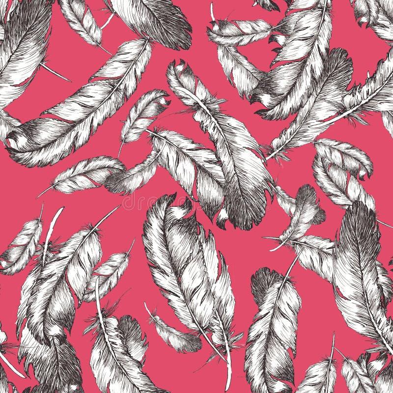 Witte en zwarte schetsillustratie van vogelveren op in de kleurenachtergrond 2020 van de fruitduif Naadloos patroon royalty-vrije illustratie
