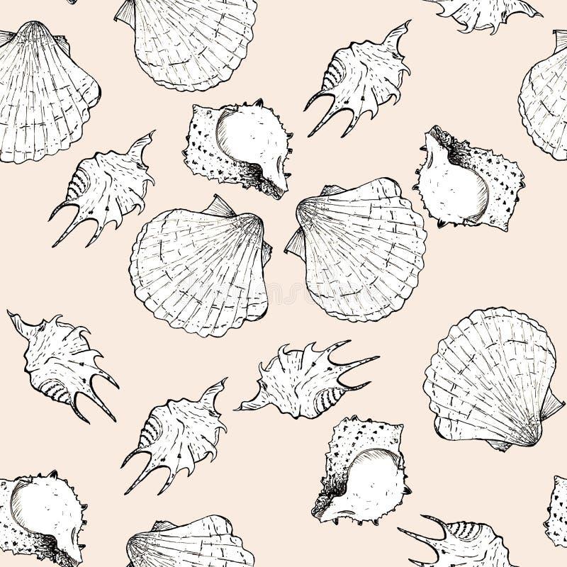 Witte en zwarte schetsillustratie van zeeschelpen op de in Crème DE Pêche achtergrond van kleurenpanton 2019-2020 Naadloos patroo vector illustratie