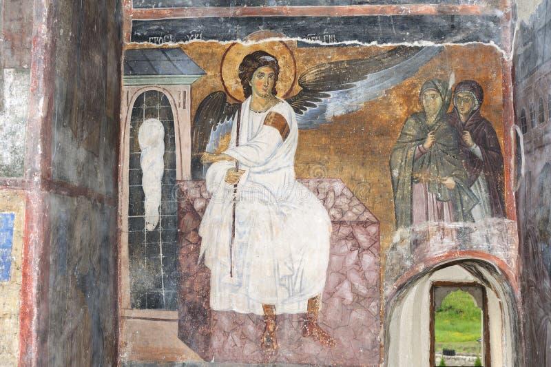 Witte Engel of Myrrhbearers op het Graf van Christus stock foto