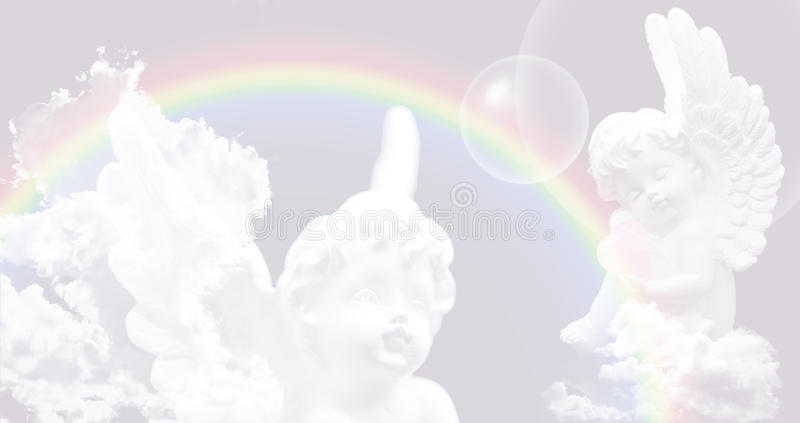 Witte Engelen op de hemel met regenboog vector illustratie