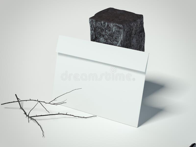 Witte envelop dichtbij donkere steen het 3d teruggeven stock afbeeldingen