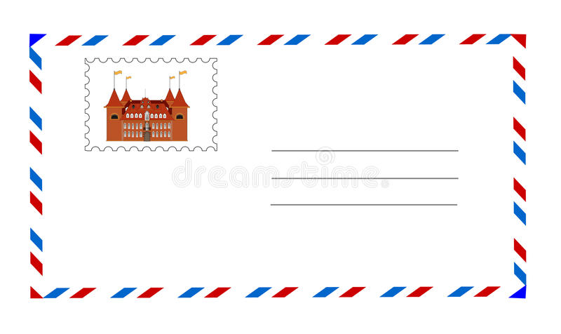 Witte envelop met postzegelvector stock illustratie