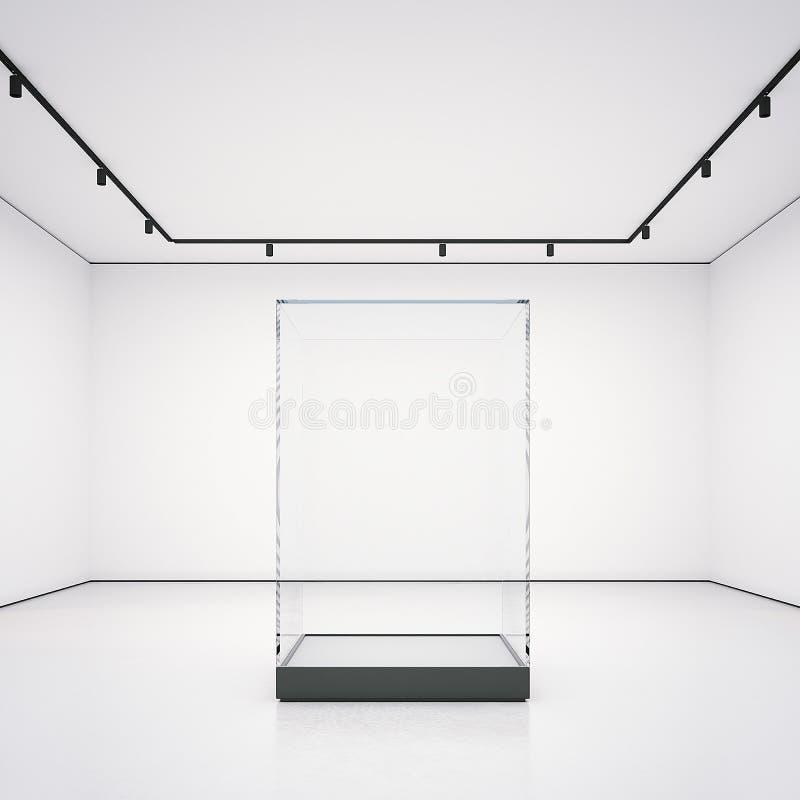 Witte galerij met lege glasshowcase het 3d teruggeven vector illustratie