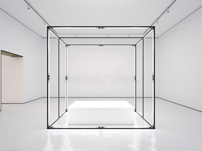 Witte galerij met lege moderne showcase het 3d teruggeven royalty-vrije illustratie