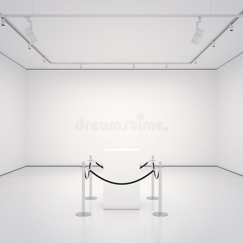 Witte galerij met lege showcase het 3d teruggeven royalty-vrije illustratie