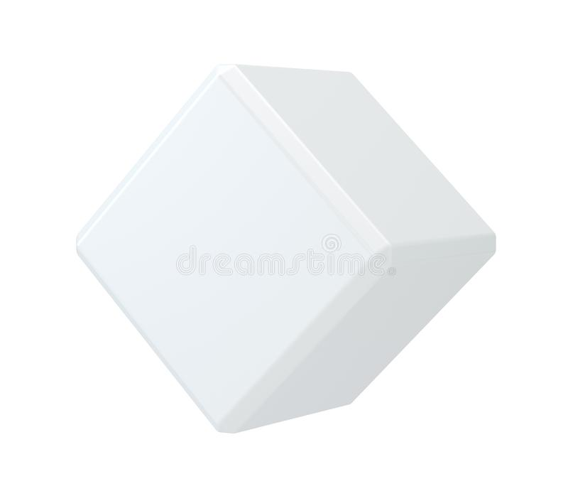 Witte geïsoleerde kubus op achtergrondsudio stock illustratie