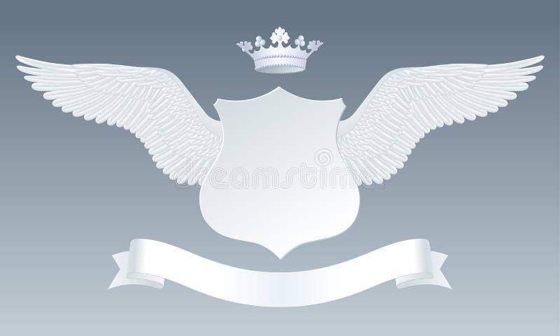Witte gedetailleerde realistische vleugels met gesneden document teken, kronen en r vector illustratie