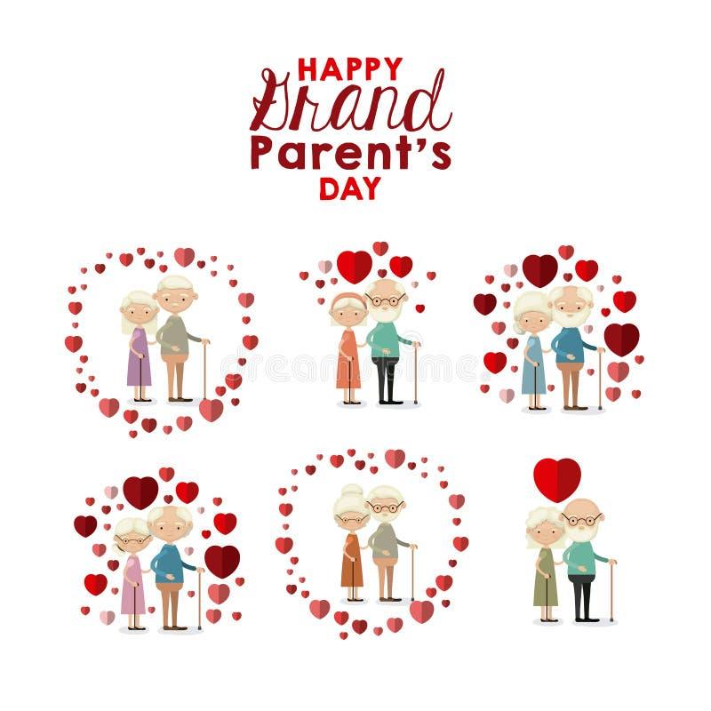 Witte gelukkige grote de oudersdag van het achtergrond vastgestelde volledige lichaams bejaarde paar inlove vector illustratie