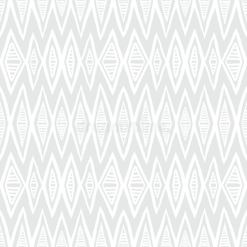 Witte geometrische textuur met hand getrokken chevrons stock illustratie