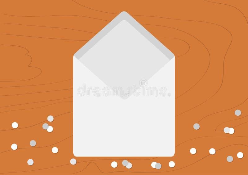 Witte Geopende Lege Envelop lege brief Realistisch modelmalplaatje Confettien op houten het bureauachtergrond van de lijst houten royalty-vrije illustratie