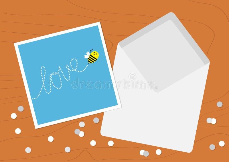 Witte Geopende Lege Envelopbrief en groetkaart met vliegend bijeninsect, het woordliefde van de streepjelijn Confettien op houten royalty-vrije illustratie