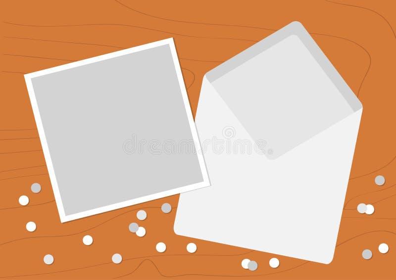 Witte Geopende Lege Envelopbrief met groetkaart Realistisch modelmalplaatje Confettien op het houten bureau van de lijst houten t vector illustratie