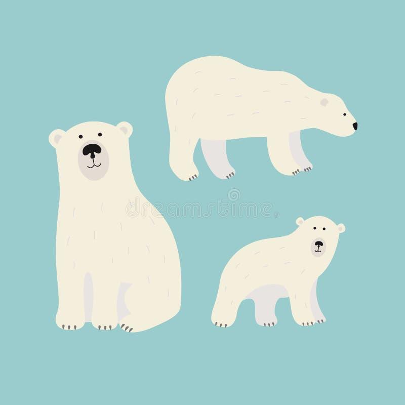 Witte geplaatste ijsberen stock illustratie