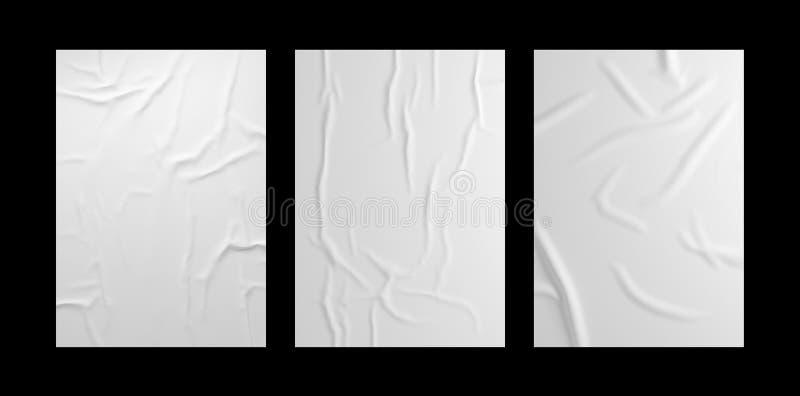 Witte gerimpelde affichesjabloonset Geïsoleerd gelijmd document model royalty-vrije illustratie