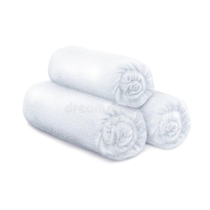 Witte gerolde pluizige badstofhanddoeken stock foto's