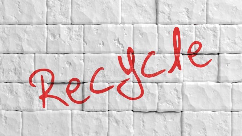 Witte geschilderde bakstenen muur met rood Kringloop stock illustratie