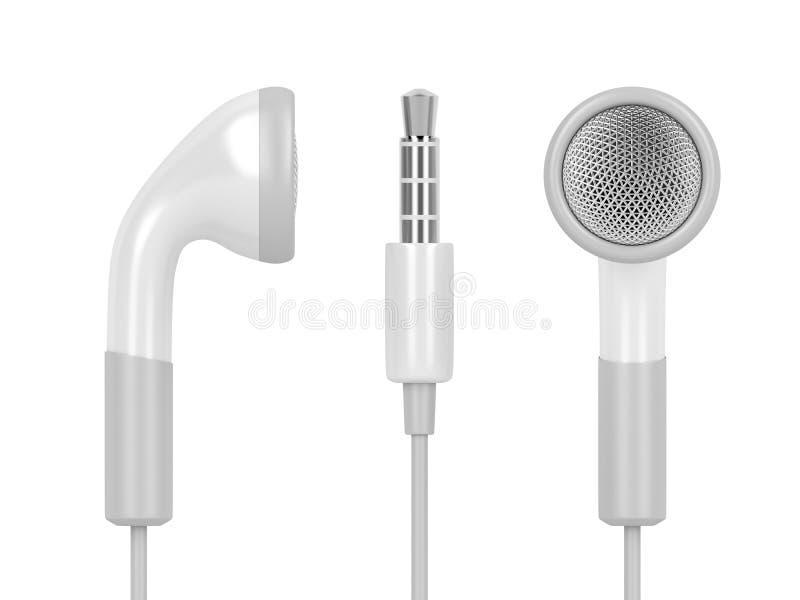 Witte getelegrafeerde oortelefoons vector illustratie