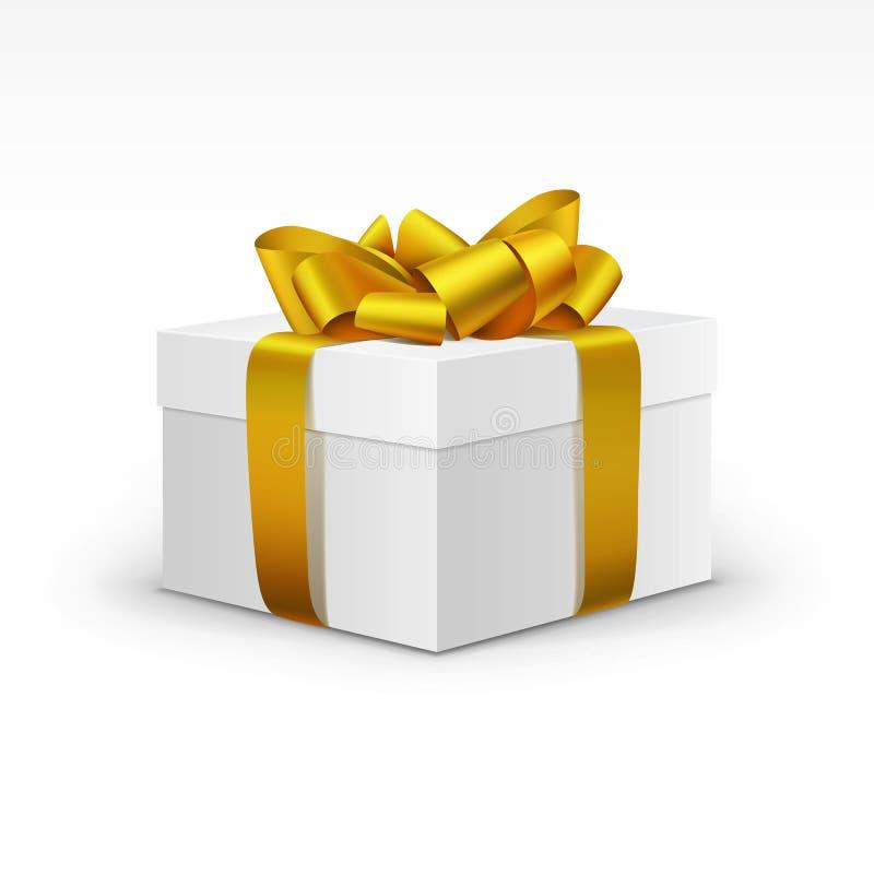 Witte Giftdoos met Geel Gouden Geïsoleerd Lint vector illustratie