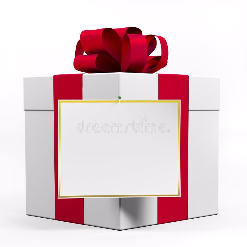 Witte giftdoos met rood 3d lint stock illustratie
