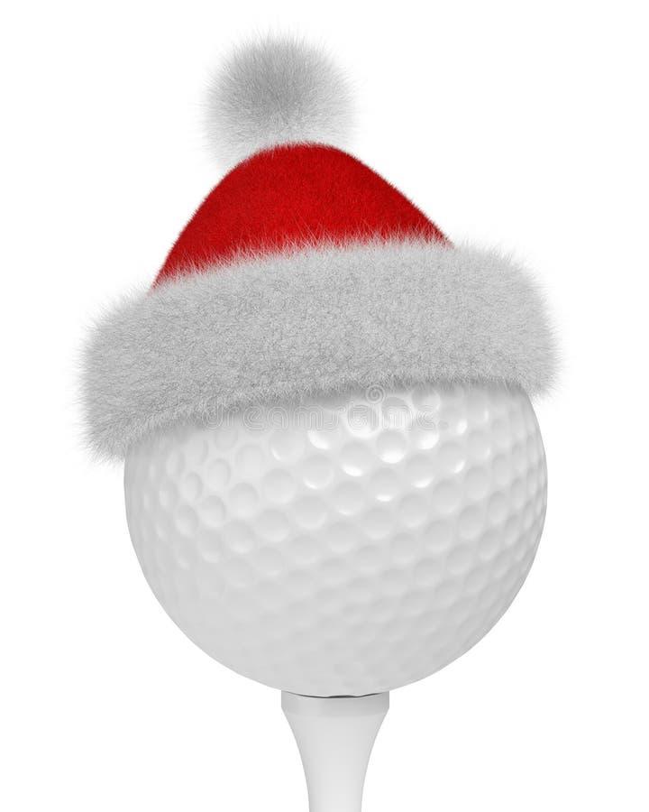 Witte golfbal op T-stuk in Kerstman rode hoed stock illustratie