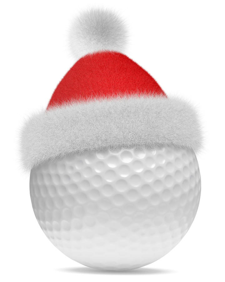 Witte golfball in de rode hoed van Santa Claus vector illustratie