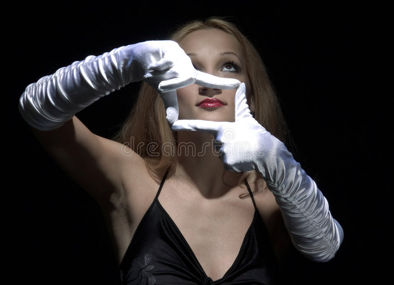 Witte handschoenen 2 stock foto's