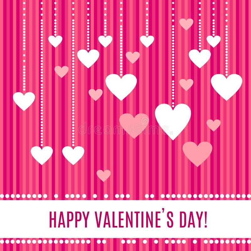 Witte harten op mooie die parelkoorden op gestripte roze achtergrond voor Gelukkige Valentijnskaartendag worden geïsoleerd stock illustratie
