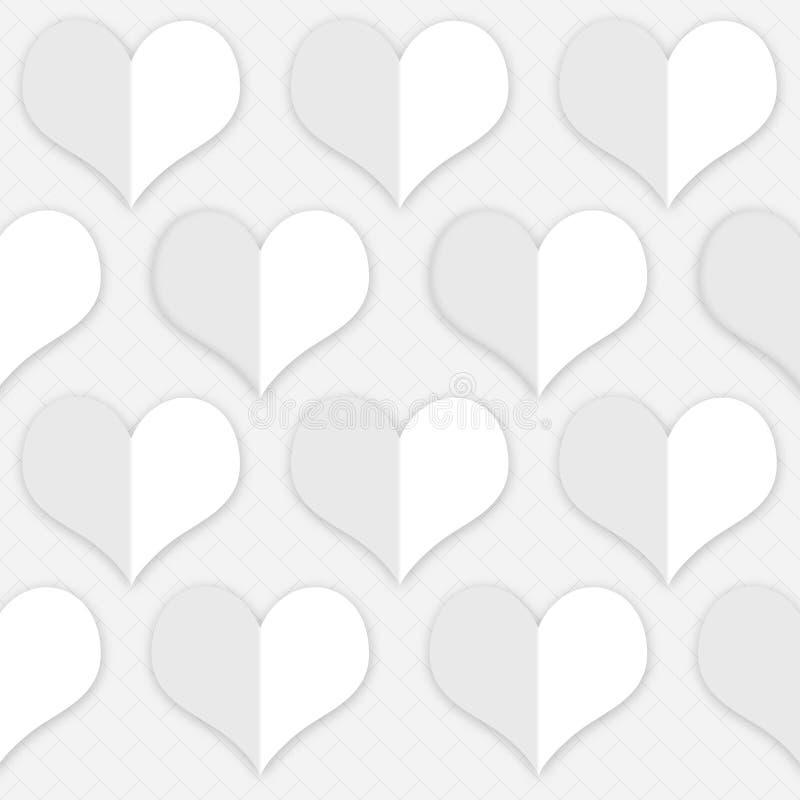 Witte hartenachtergrond om de kaarten van de valentijnskaart` s dag te creëren vector illustratie