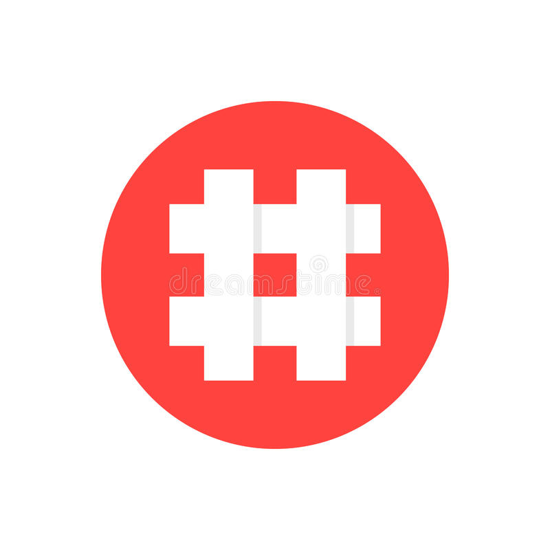 Witte hashtag in rode cirkel vector illustratie
