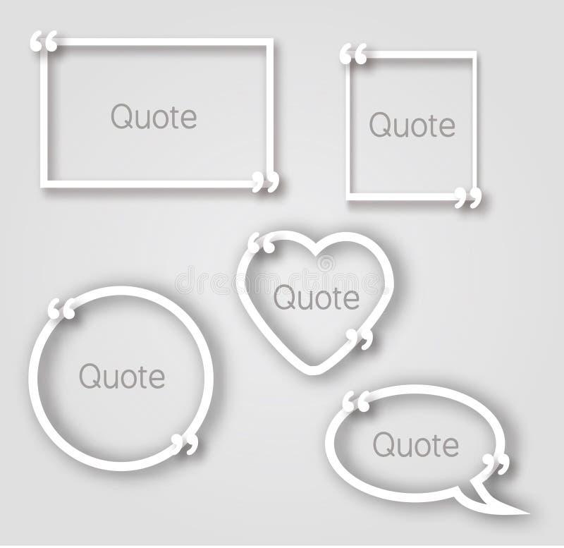 Witte het document van de citaatbel kaders in realistische stijl Verschillende vormendocument kadersmalplaatjes met komma's vector illustratie