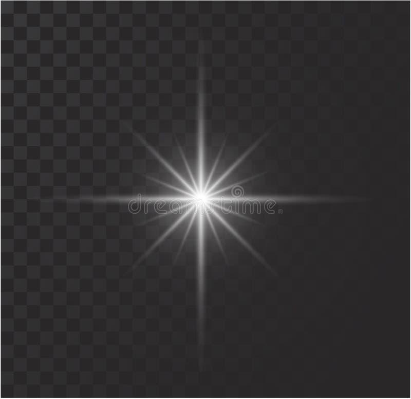 Witte het gloeien lichte uitbarstingsexplosie met transparant Vectorillustratie voor koele effect decoratie met straalfonkelingen stock foto