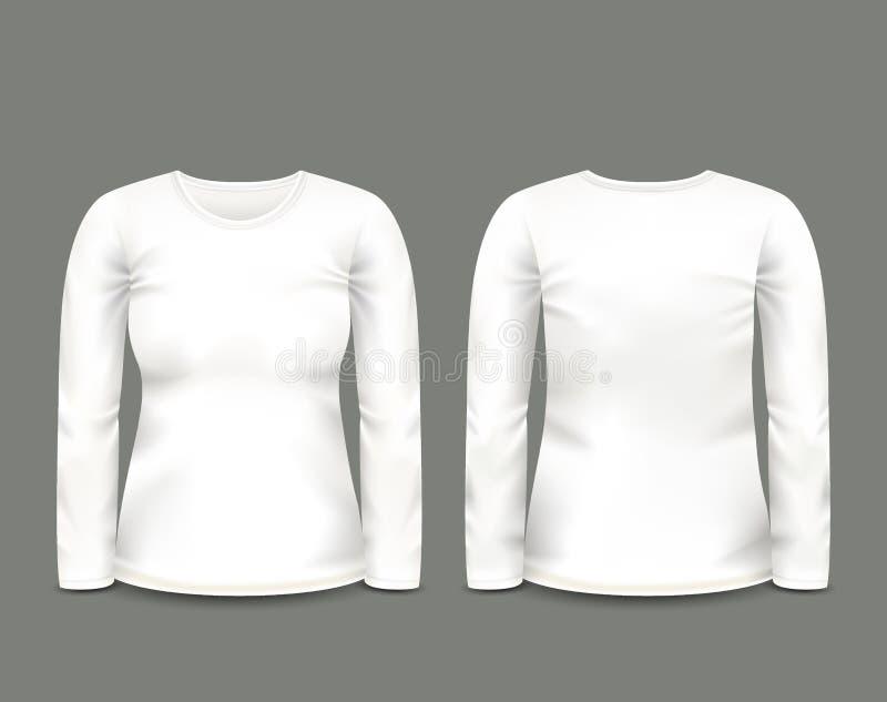 Witte het sweatshirt lange koker van vrouwen in voor en achtermeningen Vector Malplaatje Volledig editable met de hand gemaakt ne royalty-vrije illustratie