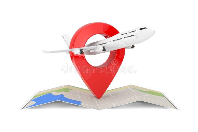Witte het Vliegtuig van Jet Passenger \ 's over Gevouwen Abstracte Navigatiekaart met Doel Pin Pointer het 3d teruggeven royalty-vrije illustratie