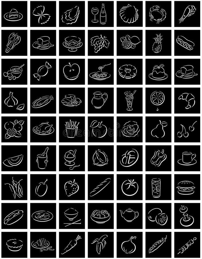 Witte het voedselsymbolen van vierkanten stock illustratie
