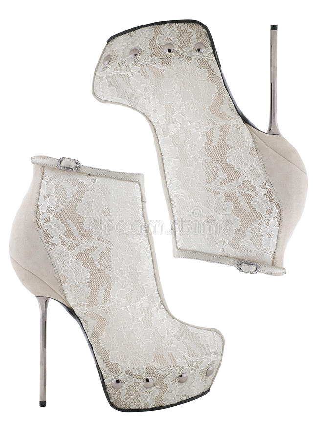 Witte hoge laarzen stock afbeeldingen