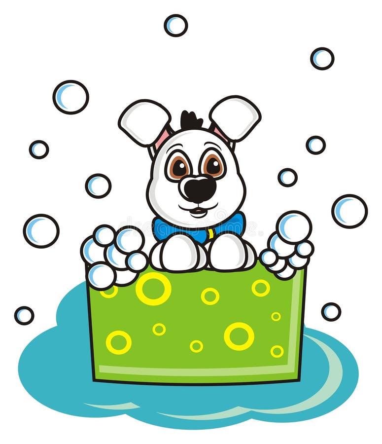 Witte hond in een bassin met schuim royalty-vrije illustratie