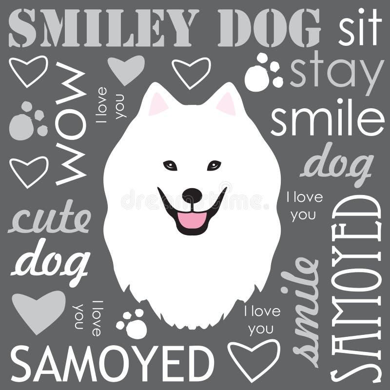 Witte Hond Samoyed stock illustratie