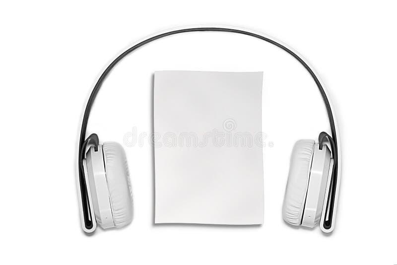 Witte hoofdtelefoons royalty-vrije stock afbeeldingen