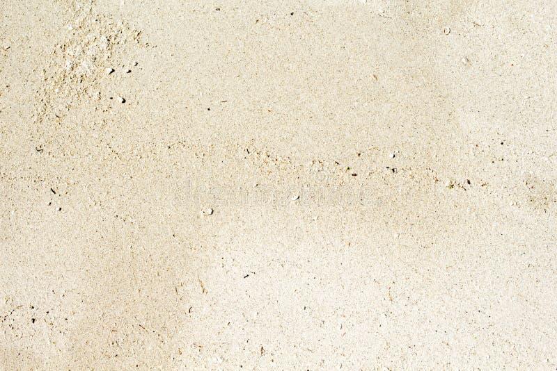 Witte hoogste de meningsfoto van het zandstrand De vlotte textuur van het koraalzand De bannermalplaatje van de kustzwerflust met stock fotografie